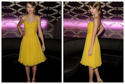 Taylor Swift Chiffon Sweetheart Yellow Knee-Length A-Line Dress