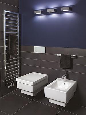Baños en color azul y gris - Colores en Casa