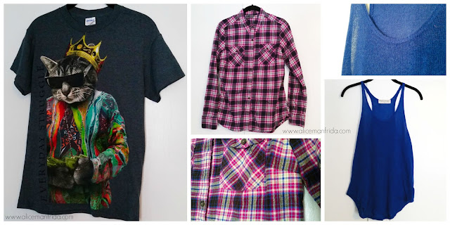 Walmart, Eddie Bauer, Urban Outifitters, graphic tee, pink plaid, flannel shirt, blue knit tank top, style, fashion, summer, spring, women's clothing