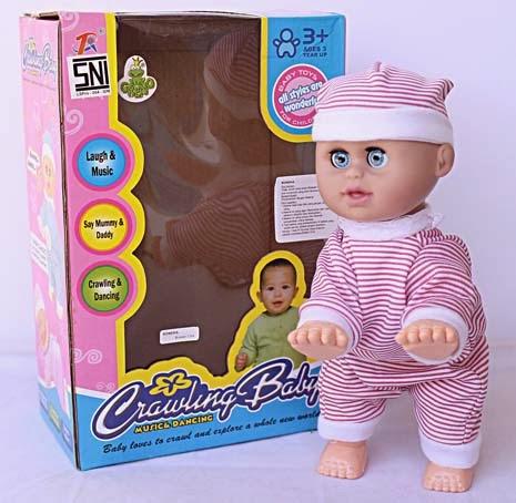 Kado ulang tahun berupa mainan boneka bayi barbie yang suka merangkak dan menari.