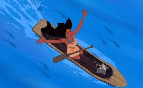 Pocahontas canooing Pocahontas 1995 animatedfilmreviews.blogspot.com