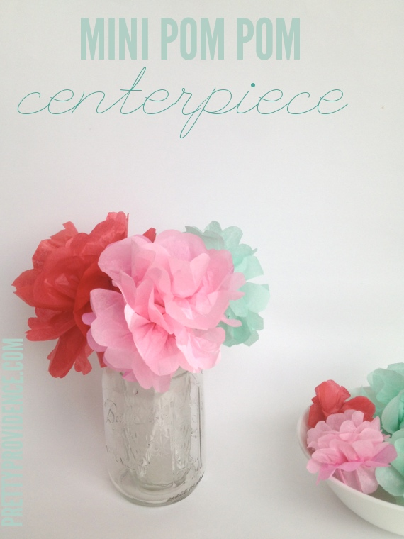 mini pom pom centerpieces - easiest and cheapest centerpiece, it's pretty and can be made with any colors for any occasion! at www.prettyprovidence.com