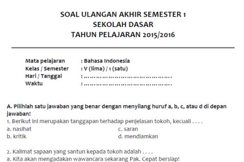 Soal Uas Bahasa Indonesia Semester 1 Kelas 5
