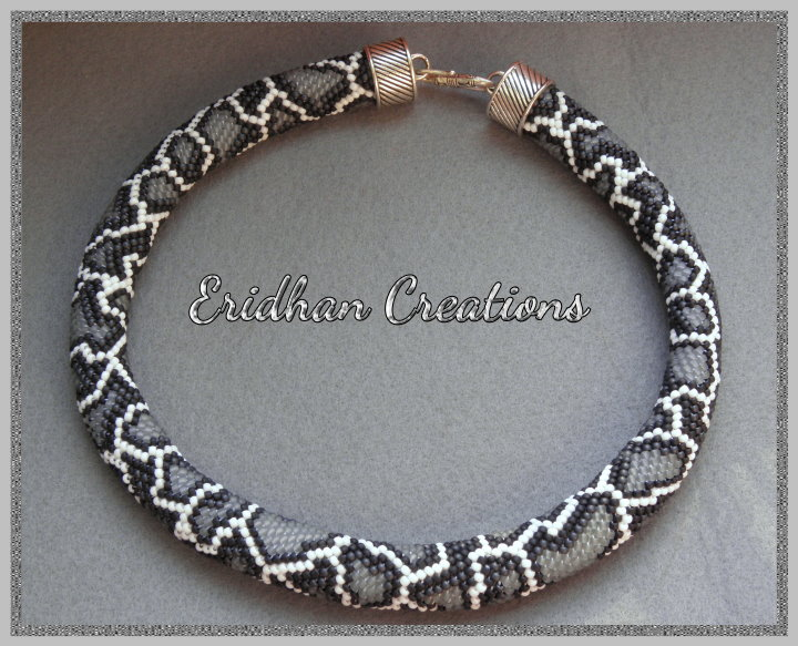snake - beaded crochet necklace