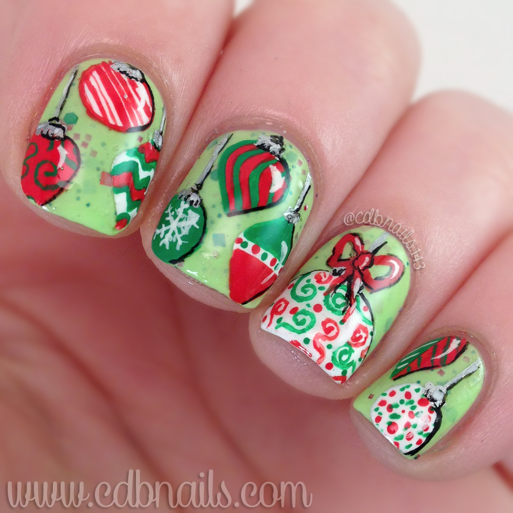 The christmas nail ornament - I First Started Out With A Festive Christmas Polish I Received For Review Last Christmas From Dashing Housewife Polish Called Feelin Grinchy