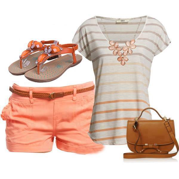 Striped Top, Jeans Shorts, Sandals, Bag | Outfits