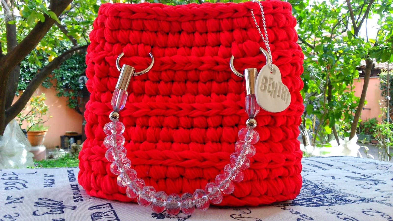 Borsa manico gioiello organza rossa