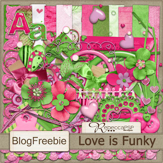 "Free scrapbook ""Love is funky"" from Rebecca s Scrapping Silliness"