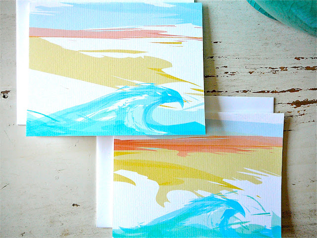 ocean note card, beach notecard, beach stationery, ocean stationery