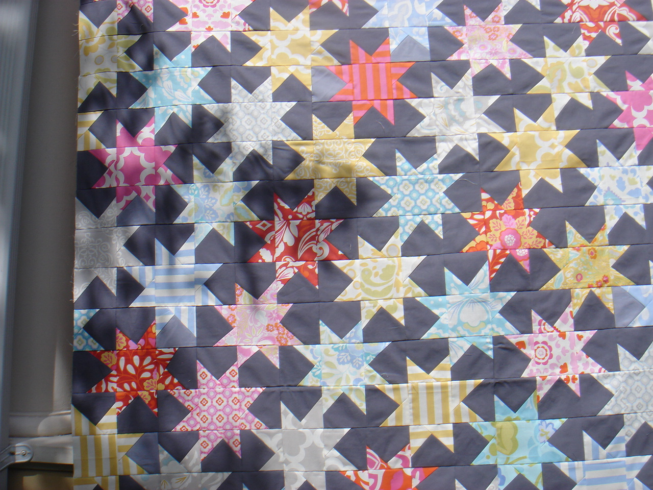 Sew While He Sleeps Progress Sparkle Punch Quilt Top Completed