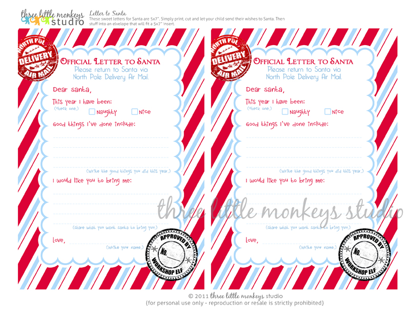FREE} Letters to Santa - Three Little Monkeys Studio