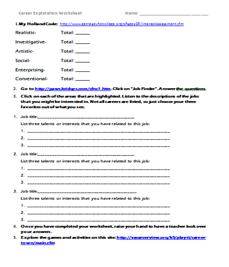 Printables Career Exploration Worksheet the inspired counselor career exploration lessons webquest each student received a worksheet to guide them through this as review of previous lesson about choosing career