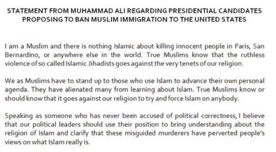 Muhammad Ali bidas kenyataan Donald Trump