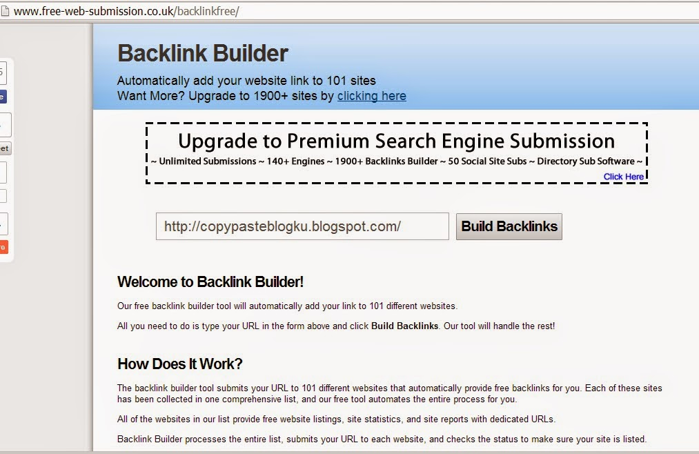 10 Web submiter tools atau Backlink builder Gratis