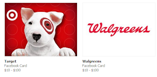 Screencap of Facebook gifts for Target and Walgreens.