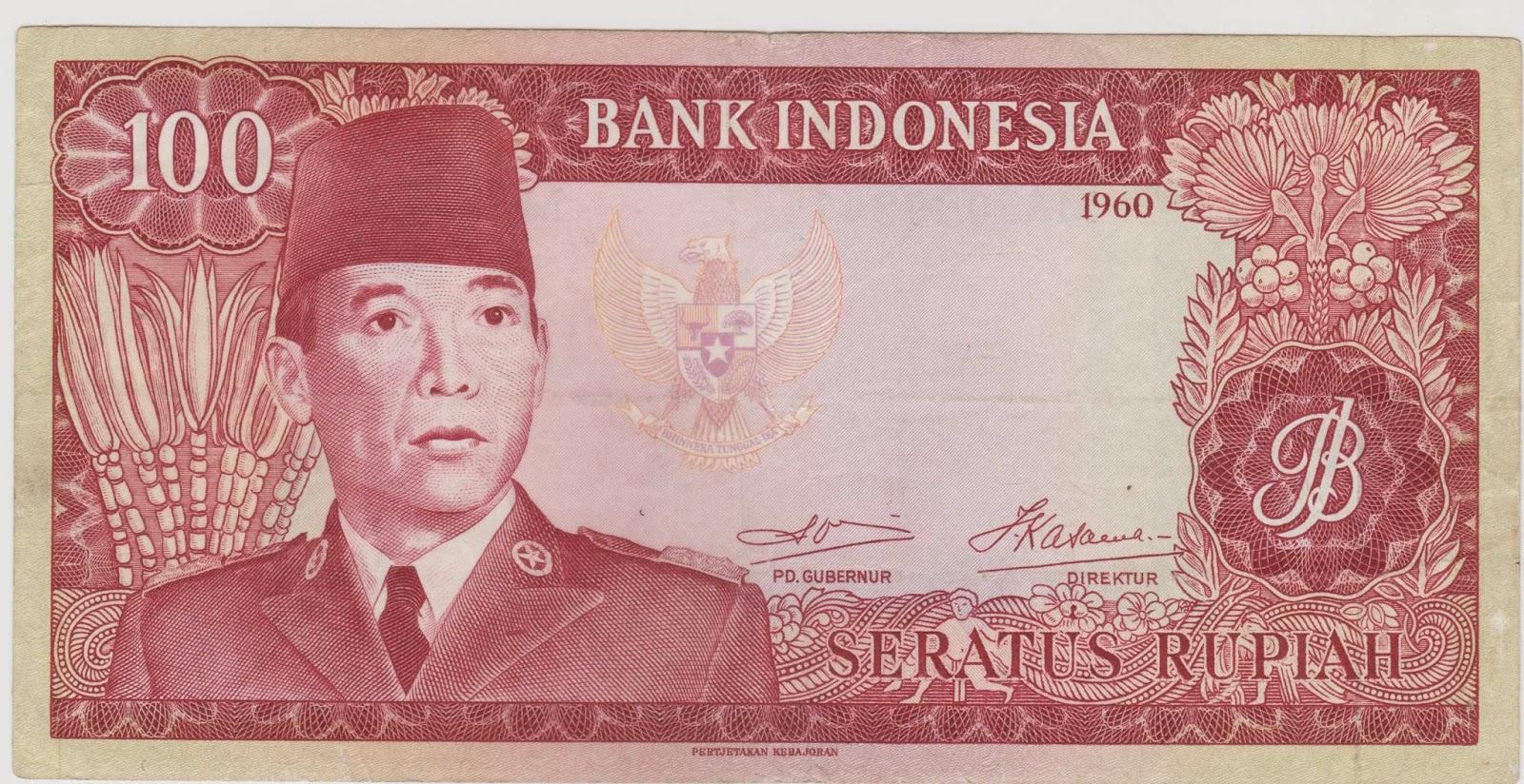 - uang kuno Seri Soekarno tahun  1960 Pecahan 100 rupiah