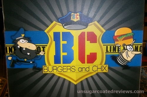BC Burgers and Chix menu mascots