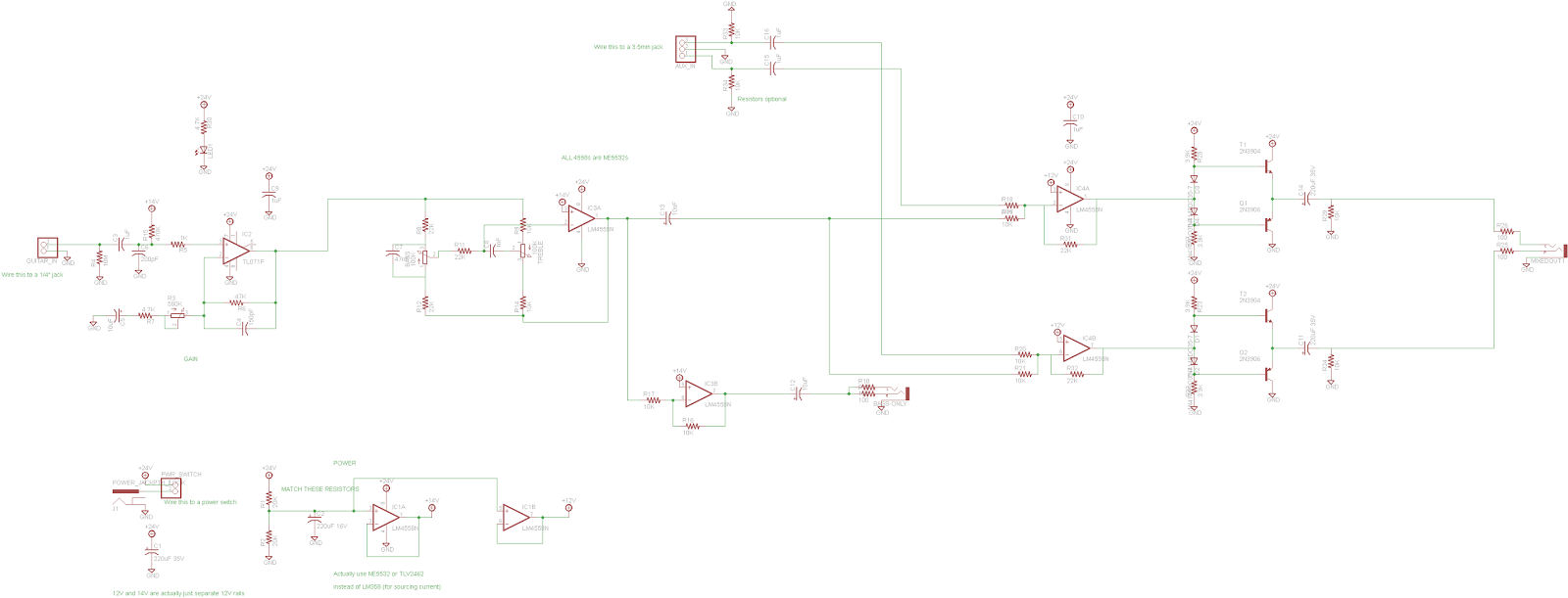 Misadventures Free Project Circuit Schematic Passive Baxandall Tone Control All Lm358s And 4558s Are Actually Ne5532s Because Laziness