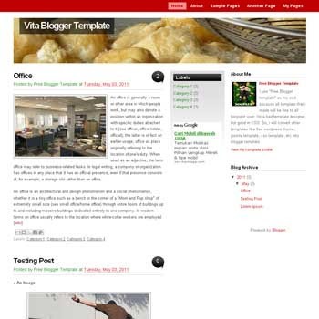 Vita blogger template convert WordPress to Blogger template. magazine style template. template 3 column for blog