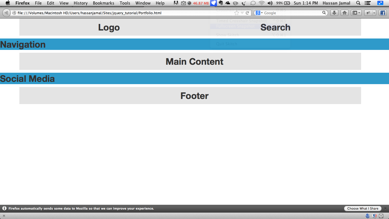 Jquery tutorial with twitter bootstrap fluid layout - Div class footer bootstrap ...