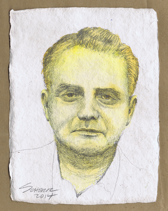 Sketch of a man over a watercolor base in shades of gold, on an Indian watercolor paper.