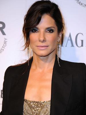 Sandra Bullock Dangling Diamond Earrings