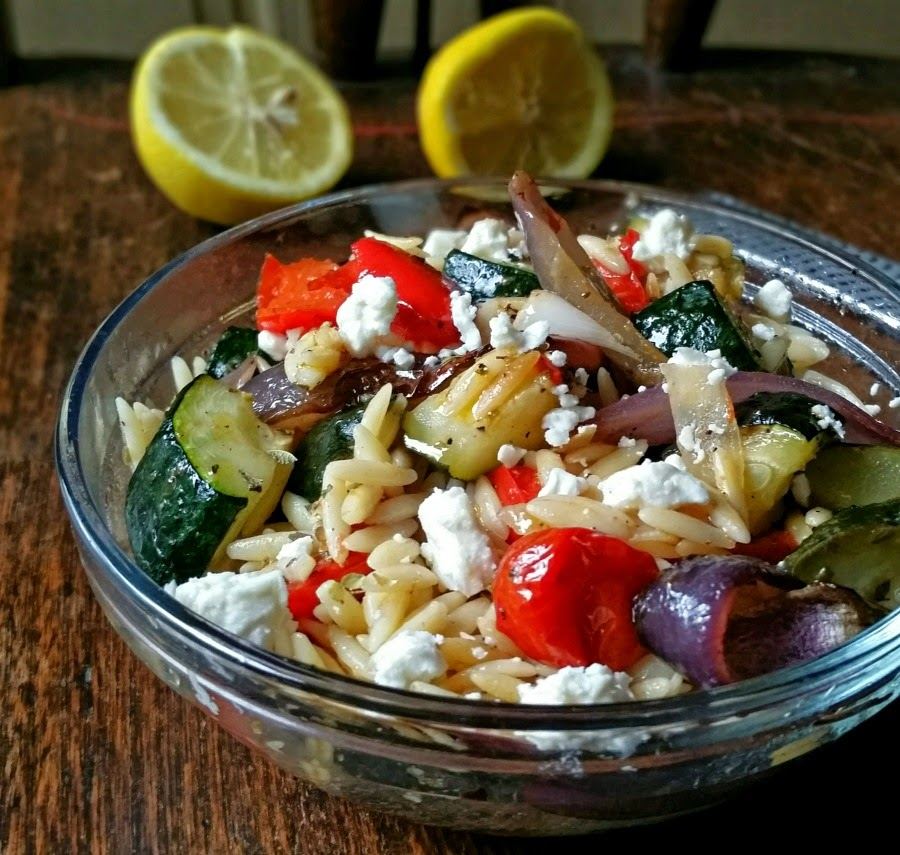 Greek Inspired Orzo Salad with Roasted Vegetables and Feta