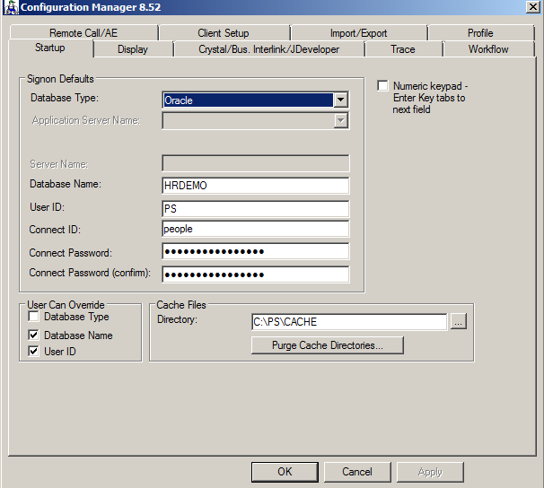Setting up connect ID in PeopleSoft Configuration Manager