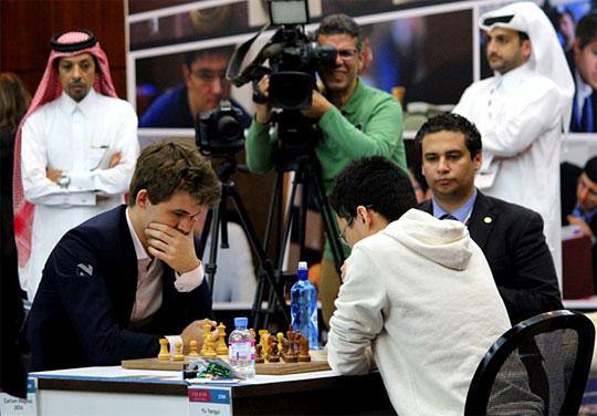 Blitz 1 : Magnus Carlsen 1-0 Yu Yangyi - Photo © Katerina Savina