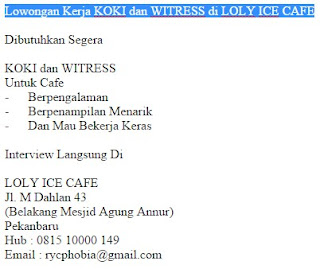 Lowongan Kerja KOKI dan WITRESS di LOLY ICE CAFE