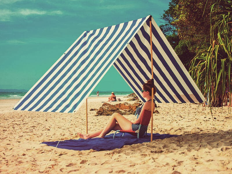 Byron Bay Beach Shade in Blue and White Stripe