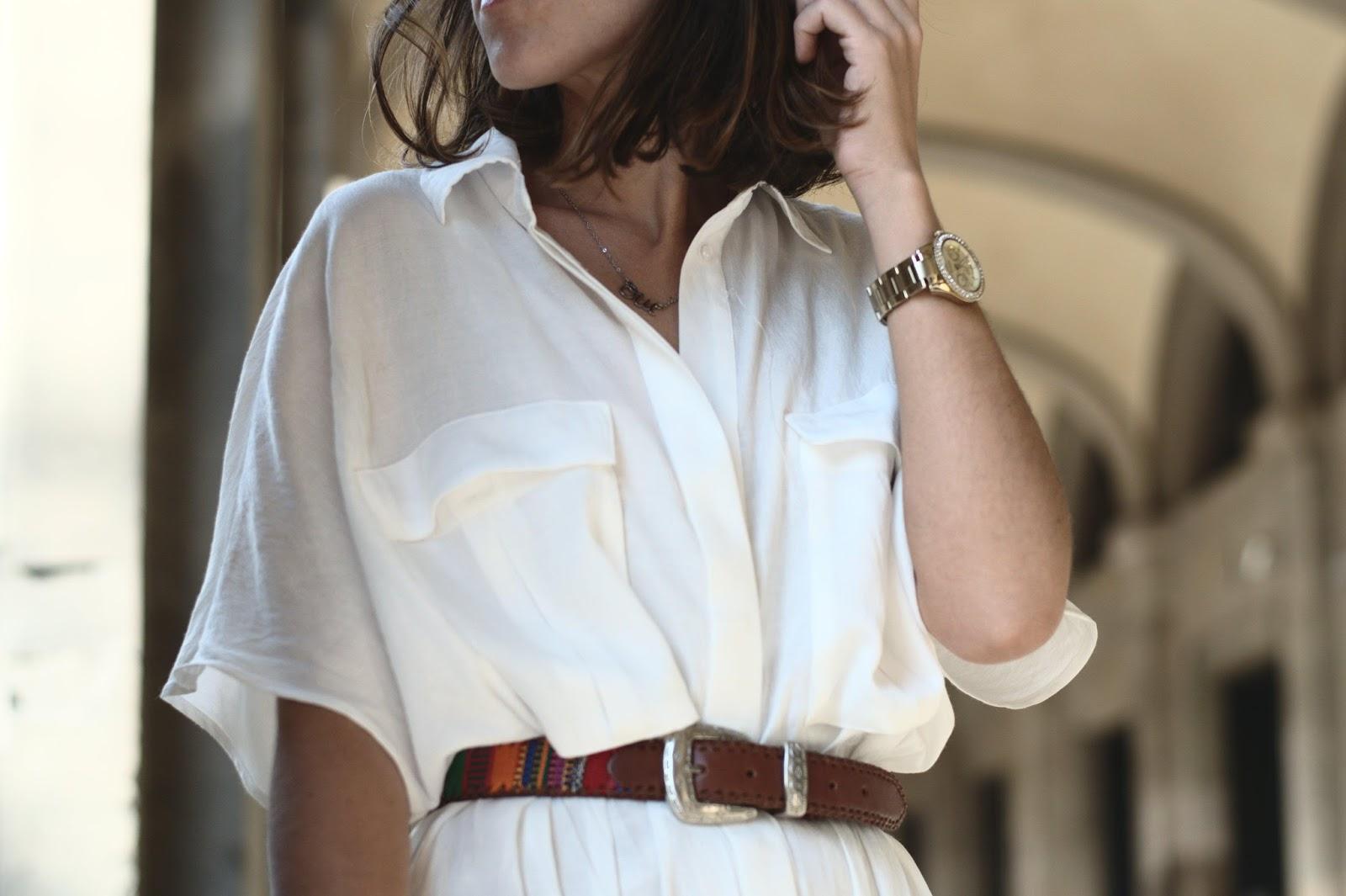 Vestido HM, cinturón vintage, clutch Mango, cuñas Zara