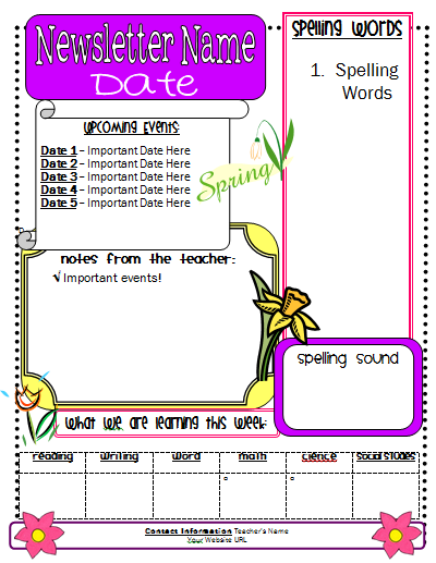 Classroom freebies spring newsletter template for Spring newsletter template