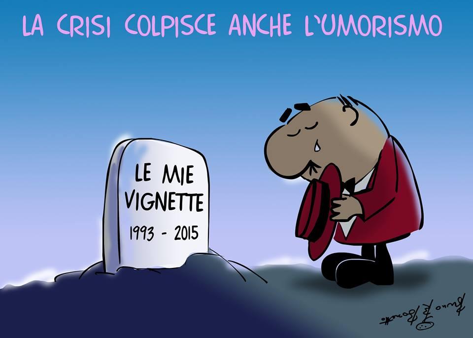 """Una vignetta di Bozzetto: la crisi colpisce anche l'umorismo. Il suo personaggio piange sulla tomba de """"le mie vignette"""""""