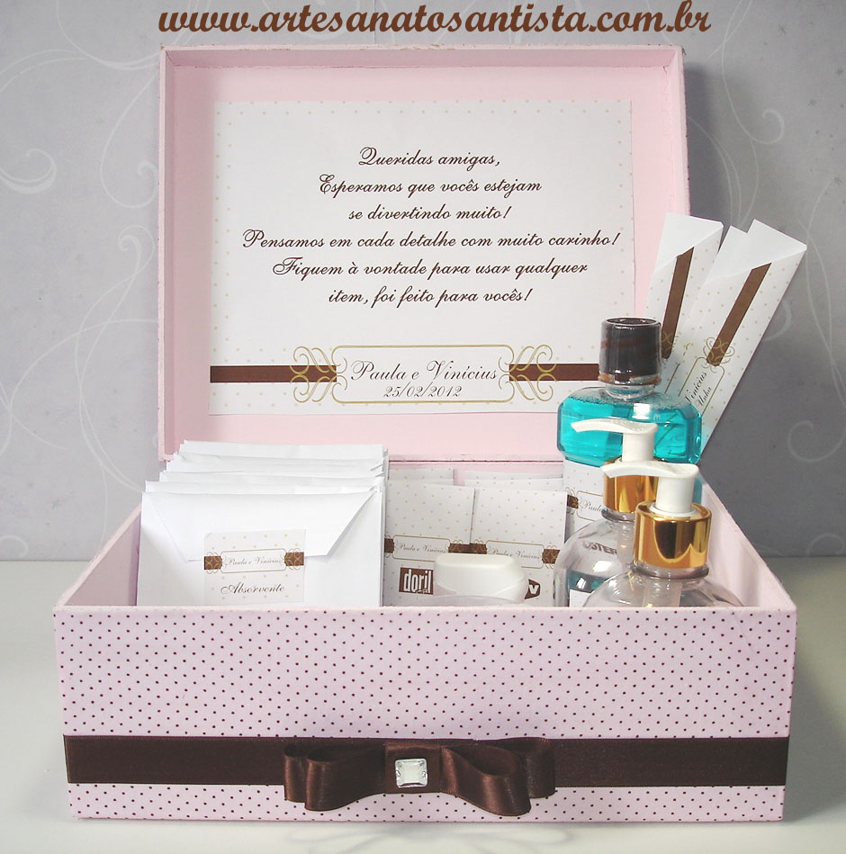 Artesanato Santista Kit Toilette Masculino Petit poa Rosa e Marrom -> Banheiro Feminino Texto