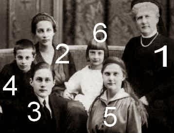 Grande-duchesse Elizaveta Mavrikievna de Russie avec 3 de ses enfants et  2 de ses petits enfants-Romanov-Bagration de Moukhrani