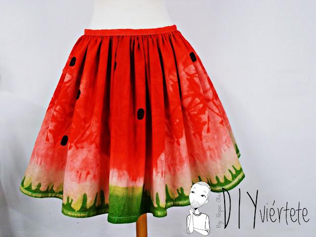 DIY-tintes iberia-teñir-rojo-verde-verano-fruta-sandía-estampado-melón-watermelon-falda-pepefalda-newlook-99999