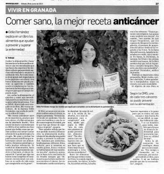 mis recetas anticancer, odile fernandez, granada hoy