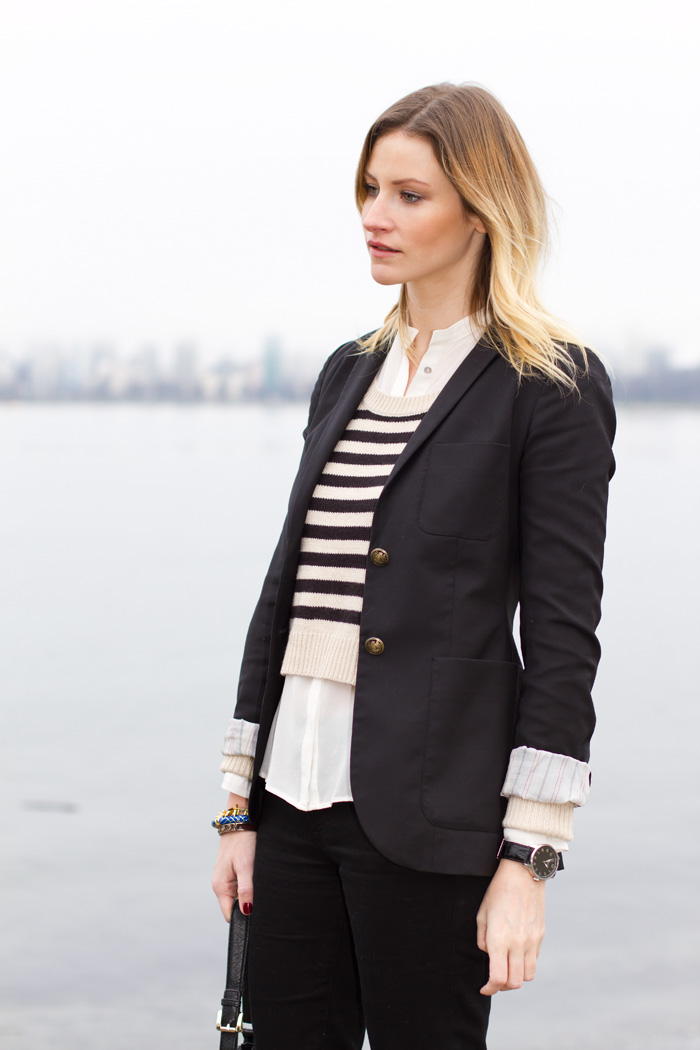 Vancouver Fashion Blogger, Alison Hutchinson, wearing Aritzia Blazer, H&amp;M cropped striped sweater, Zara silk cream button-up blouse, 7 for all Mankind black jeans, Zara burgundy ankle-strap shoes, Stella&amp;Dot, J Crew and True Worth Design Bracelets