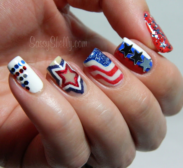 4th of july nail art. accent