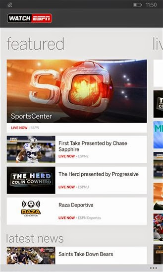 WatchESPN for Windows Phone is here