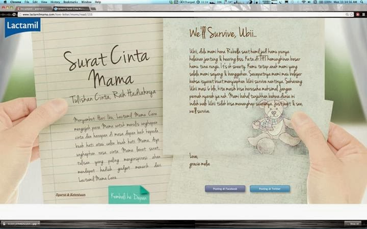 Juara I Surat Cinta Mama Lactamil Mamacare Gracemelia