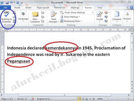 Koreksi ejaan yang salah dengan MS Word