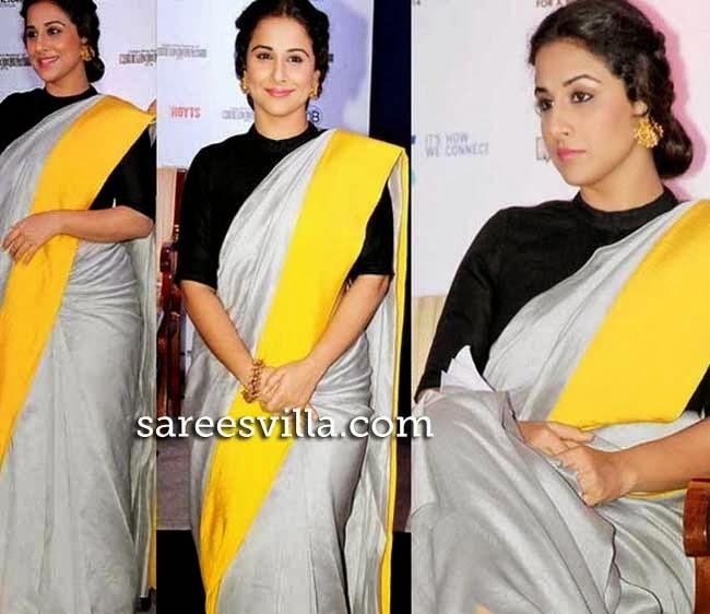 Vidya Balan in high collar blouse
