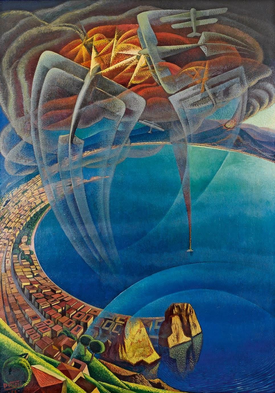 Batalla aérea sobre o golfo de Nápoles - Gerardo DottoriA imagem busca retratar uma batalha aérea e o quanto ela foi intensa. Para passar tal mensagem, o autor faz uso de traços que não fazem parte do avião em si, e sim representam o movimento deste.