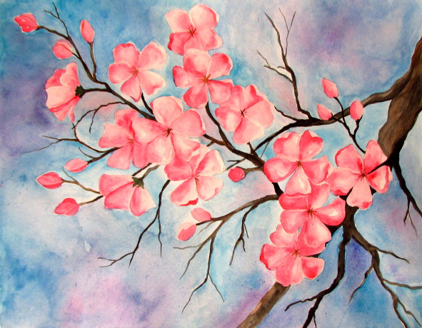 Happyfamilyart cherry blossom watercolor painting for Simple cherry blossom painting