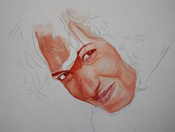 Proceso de un retrato en acuarela