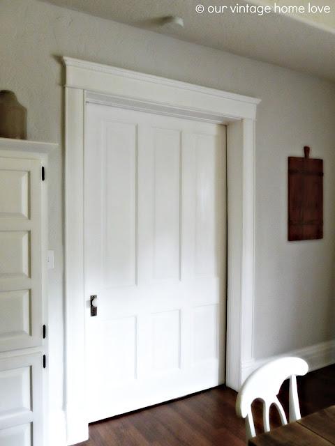 Vintage home love pocket doors and porcelain door knobs for What is the trim around a door called