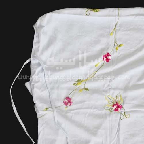 Telekung Vietnam bunga pink-putih / daun hijau-kuning bahagian muka