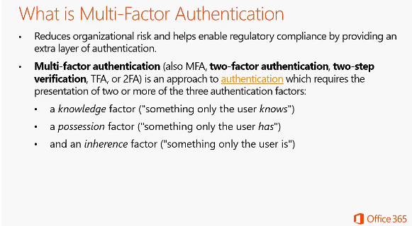 Part 1, Multi-Factor Authentication for Office 365